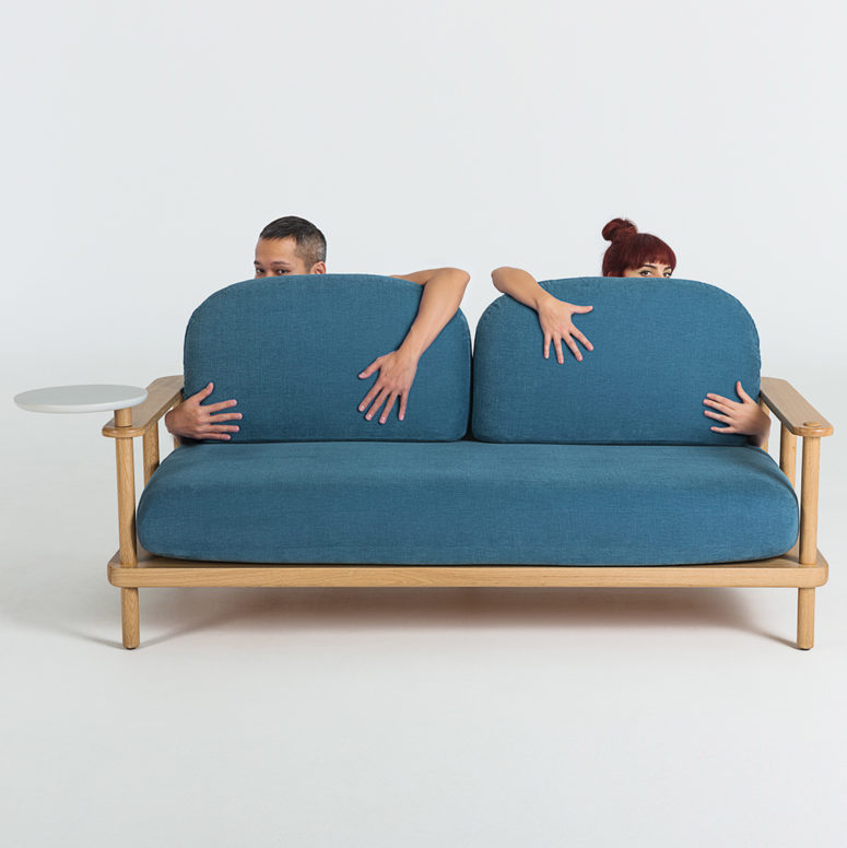 There's also a comfy sofa with a small table attached, a right size for a gadget