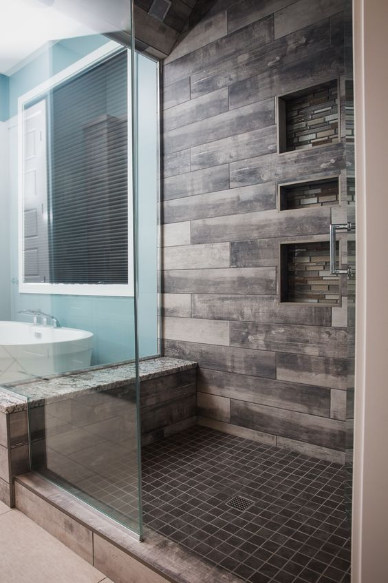 these tiles imitate weathered wood, which is practical and looks awesome