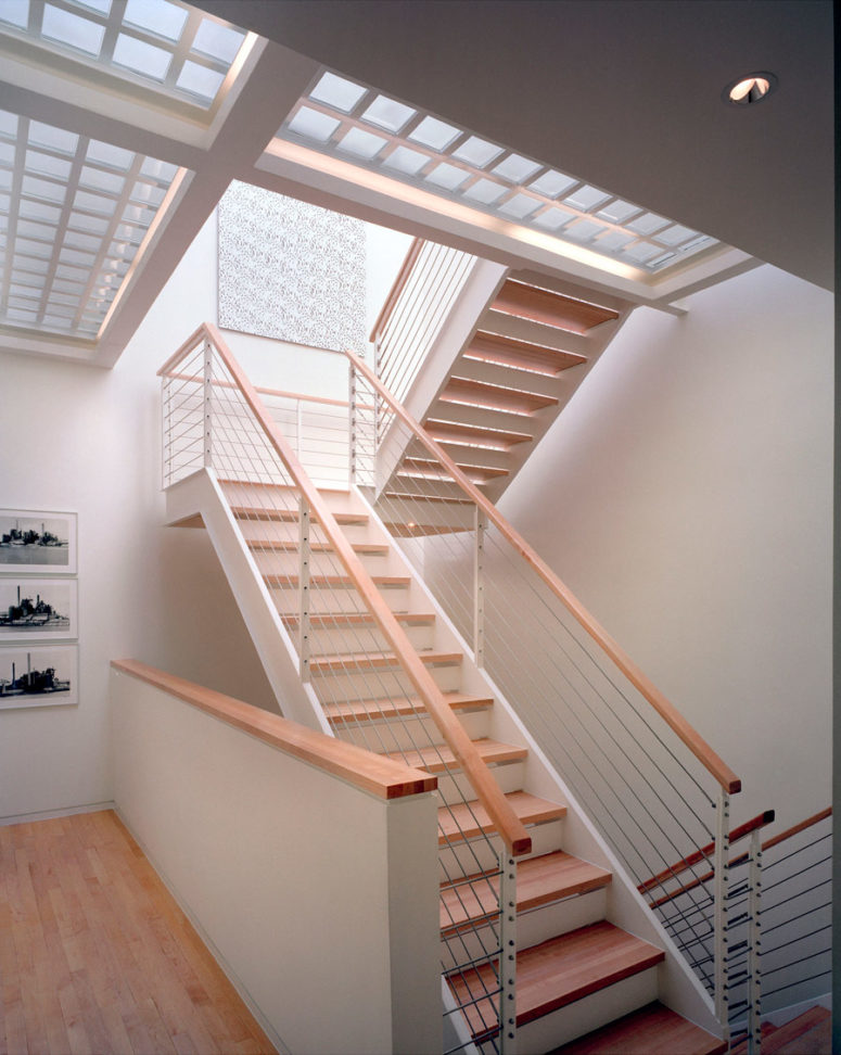 The staircase is an architectural element, which connects all the levels