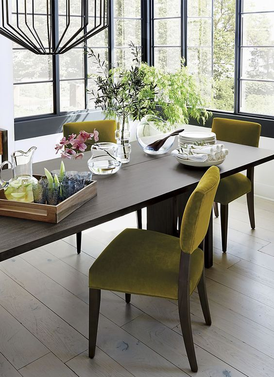 lime green upholstered chairs for creating a spering feeling
