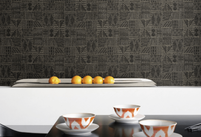 Raban Nairobi has raffia aspect weave, pasted on non woven backing, it's permanent fire resistant, handcrafted product
