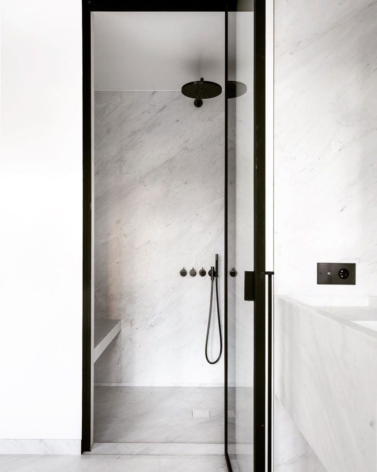 The show is small and is also clad with white marble for an exquisite look