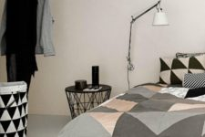 08 grey, black, white and blush large scale triangle bedding for a modern bedroom