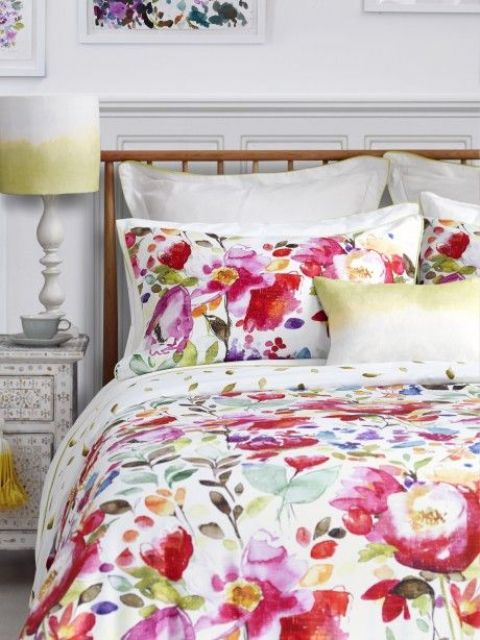 super bold red, fuchsia and yellow watercolor bedding set