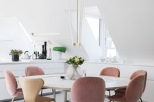 09 powder pink and beige chairs are ideal to hint that this space is feminine