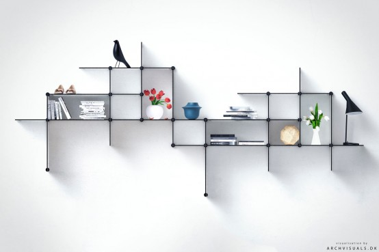 Up The Wall Shelving Unit by Bent Hansen Studio  (via www.digsdigs.com)