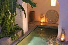 11 a small pool with inner lights is a great choice to swim at night, too