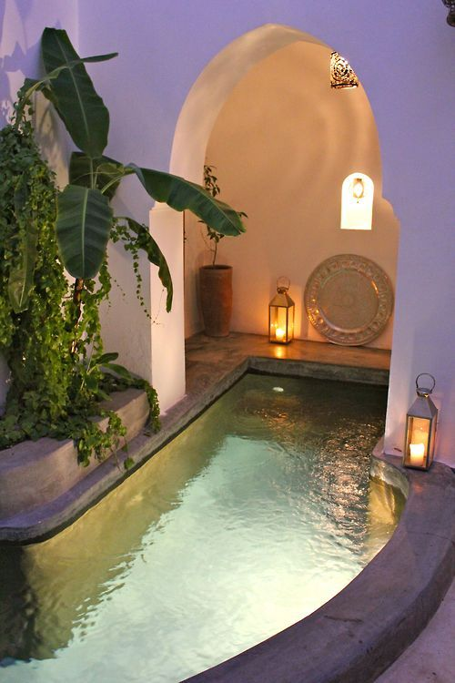a small pool with inner lights is a great choice to swim at night, too