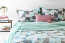 11 mint, green, blush, black triangle print bedding is ideal for spring and summer