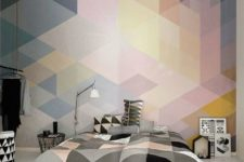 12 white, grey, black and blush triangle bedding and a matching geo wall mural
