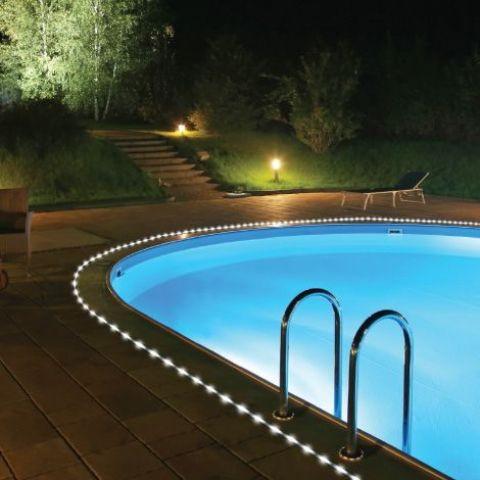 solar rope lights are perfect for lining up your pool and accentuating it