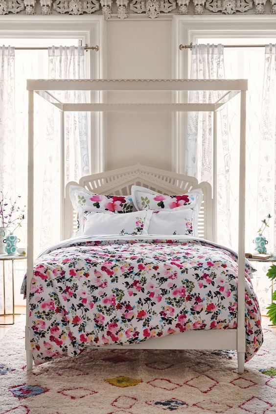 cute pink and blush floral bedding with white parts for a girlish space