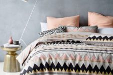18 pink, white, black and gold triangle duvet and pillows in the same shades but no prints