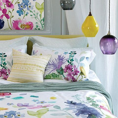 delicate watercolor floral bedding with different blooms