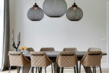 19 lamps with black fabric shades make a modern statement