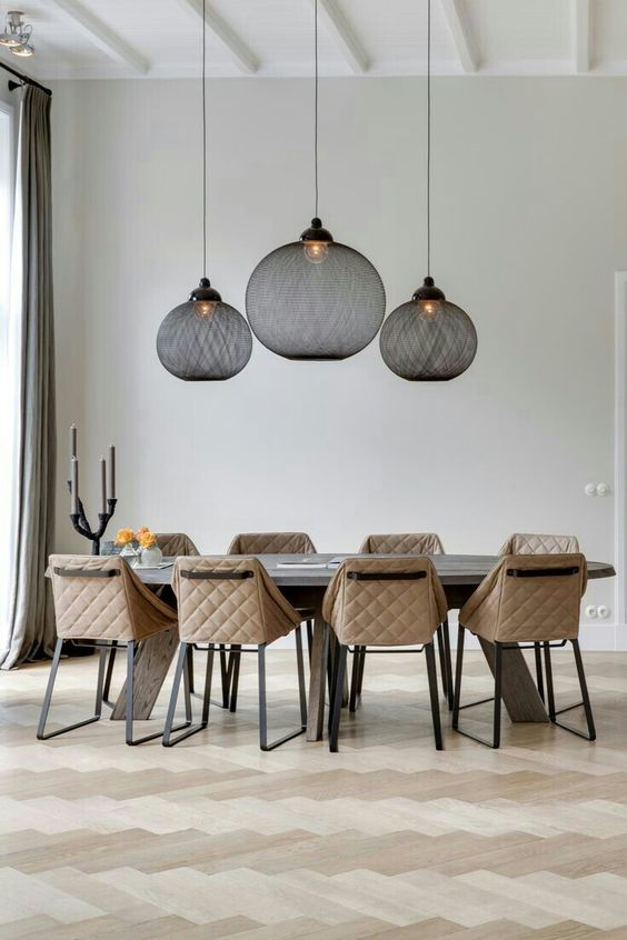lamps with black fabric shades make a modern statement