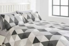 19 white and shades of grey geometric bedding for a peaceful feel