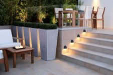 21 a wall lighting set to illuminate steps that ar enext to the wall
