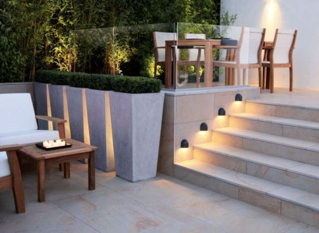 a wall lighting set to illuminate steps that ar enext to the wall