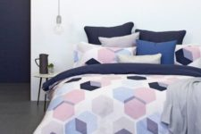 21 purple, pink and navy hexaagon print bedding will make your space fresh