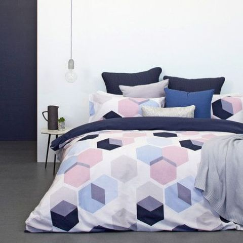 purple, pink and navy hexaagon print bedding will make your space fresh