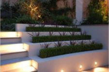 22 lights attached to the planters to illuminate the patio and steps