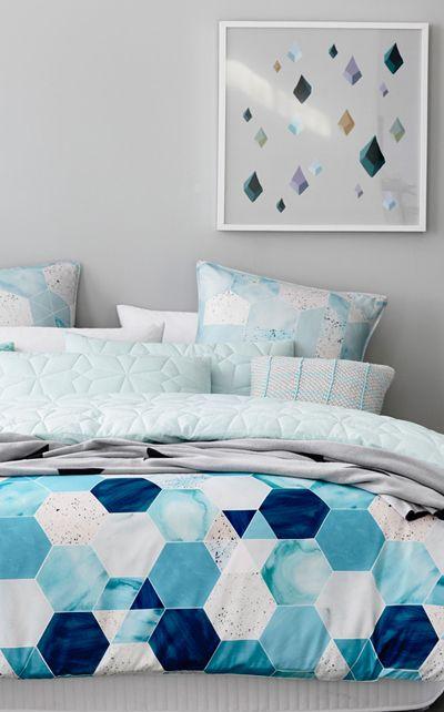 light and deep blue hexagon duvet, textural geo light blue pillowcases to match