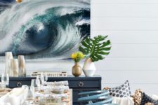 25 a gorgeous ocean artwork for a seaside dining space