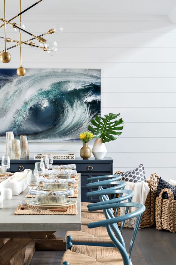 a gorgeous ocean artwork for a seaside dining space