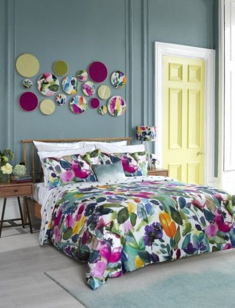 super bold watercolor bedding set and matching wall art