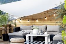 26 string lights over the seating area is a simple and budget-savvy idea