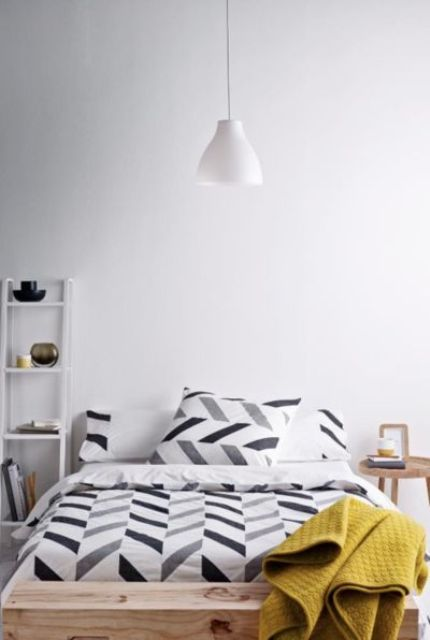 grey, white and black chevron bedding for a modern space