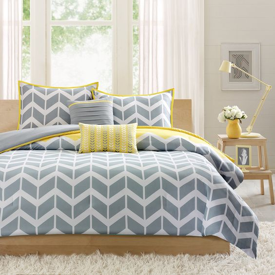 grey, white and yellow chevron bedding, yellow edging
