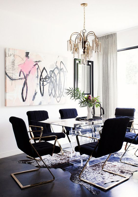 graphic modern wall art for a chic glam space