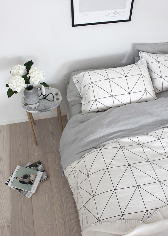 white and black geo print, grey lining and some pillowcases to match