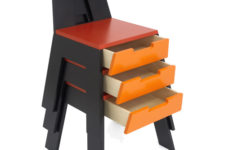 stacking chair and desk by Frederic Collette