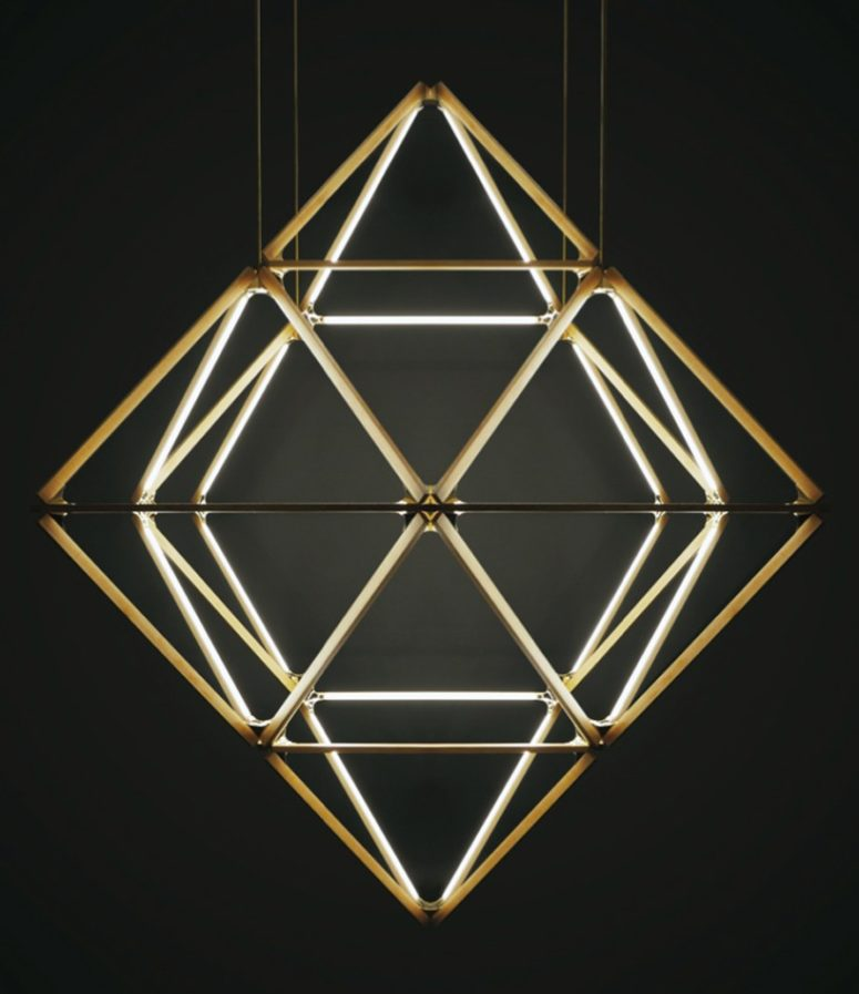 X diamond 3/60' chandelier by Stickbulb (via www.designboom.com)