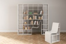 01 Bookchair is a unique design that unites a bookshelf and a chair for reading in one, and the latter can be hidden inside the shelf