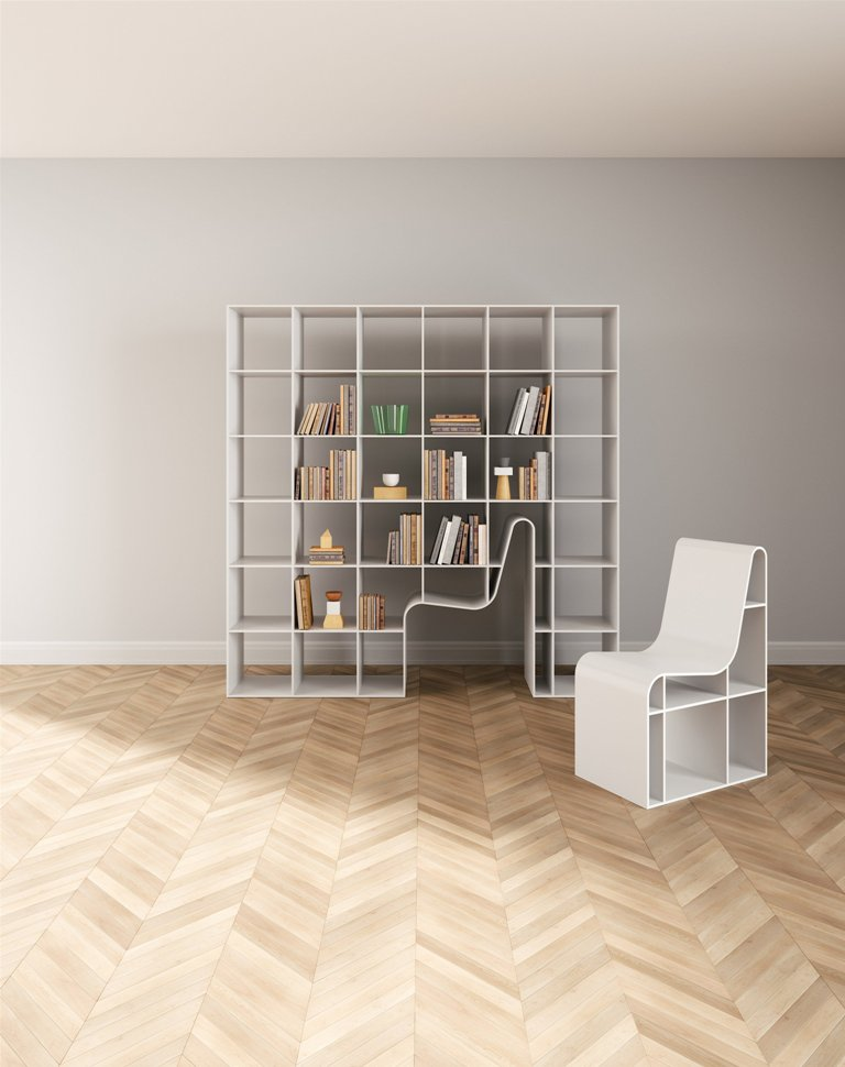 Bookchair is a unique design that unites a bookshelf and a chair for reading in one, and the latter can be hidden inside the shelf