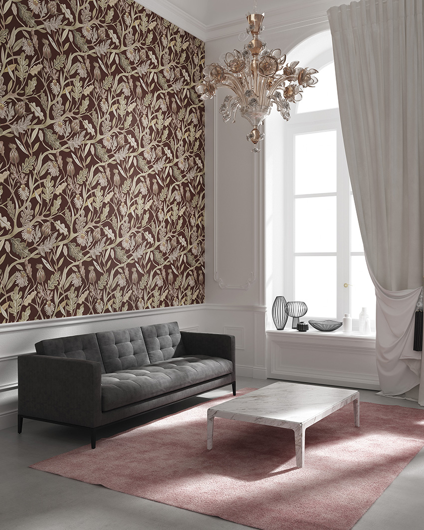 Burgundy and gold botanical print for a living room