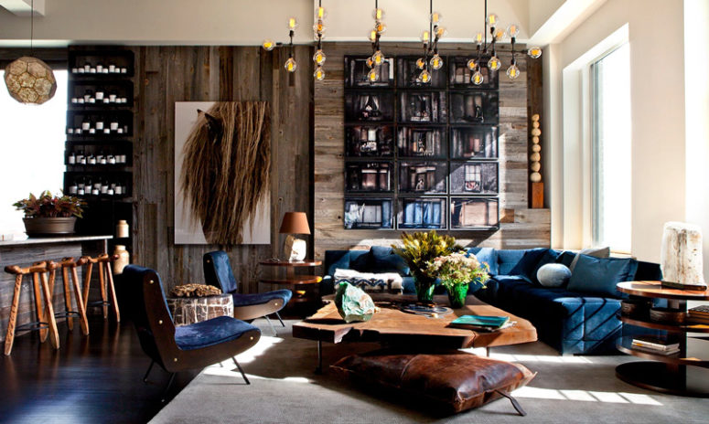 This loft has many eye catchy details, gorgeous and inviting decor and a cool use of wood, leather, stone and other natural materials