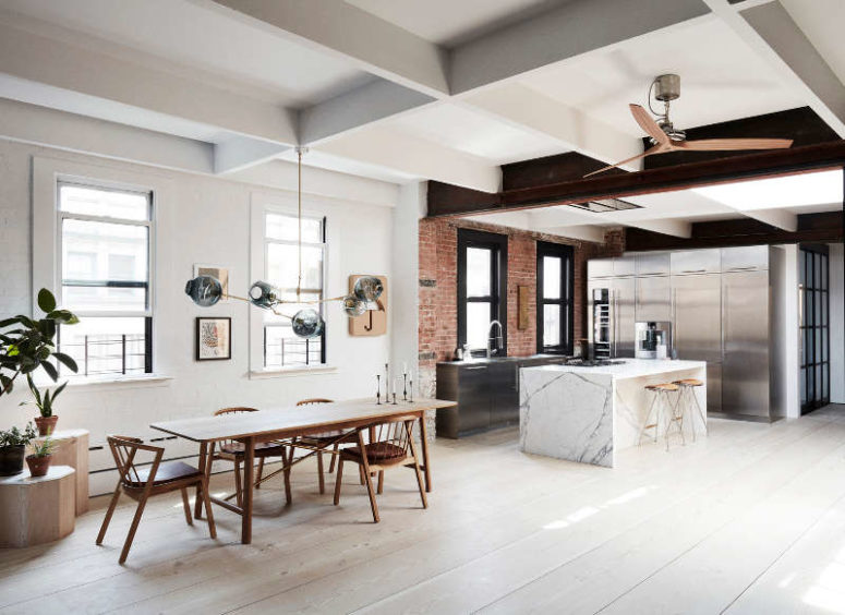 This modern Scandinavian meets industrial loft is a gorgeous space with some remaining original features and & Modern Scandinavian Meets Industrial Loft - DigsDigs