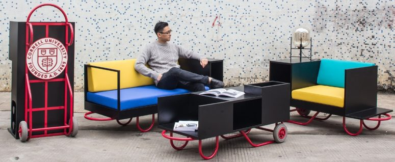 furniture with wheels. This Modern And Bold Furniture Collection Was Inspired By Pushcarts, Which Became A Real Part With Wheels