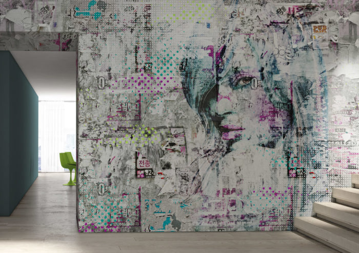 Modern abstract wallpaper in green and purple