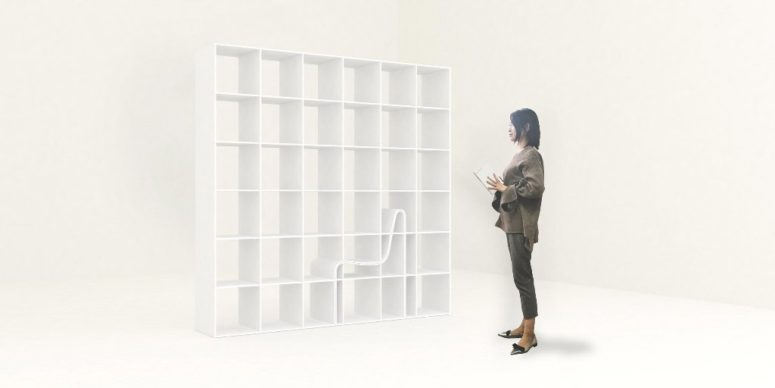 The chair perfectly fits the bookshelf cutout and features storage shelves, too, so the piece is very functional and space-savvy