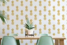 02 pineapple print wallpaper for a modern and chic dining space