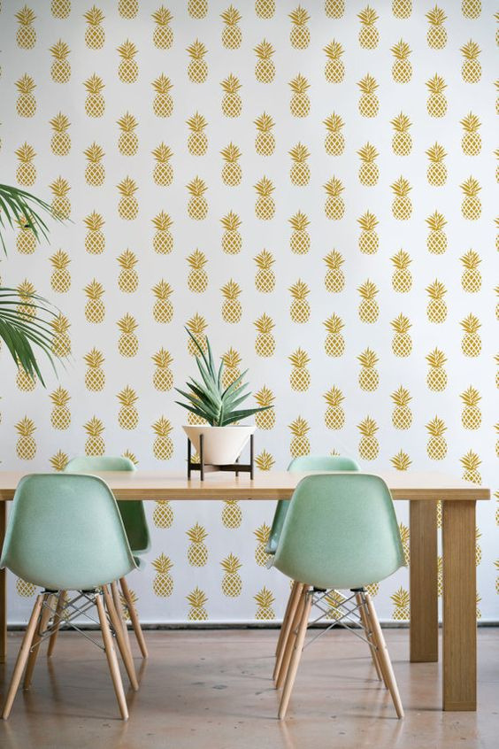 pineapple print wallpaper for a modern and chic dining space