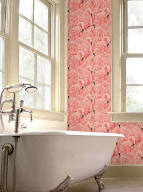 29 fun flamingo touches to embrace the summer digsdigs for Cool bathroom wallpaper