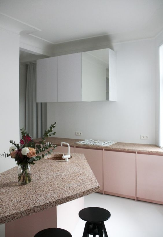 Pink Terrazzo Countertops Perfectly Fit Plain Rose Cabinets For A Girlish  Kitchen