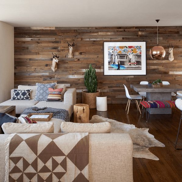 weathered pallet wood on the walls will reduce the sounds